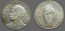 World Coins - Cuba 25 Centavos.  Birth of Jose Marti Centennial Silver Commemorative 1953