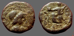 Ancient Coins - Athena in Corinthian Helmet / Vcitory, holds palm brnach,  driving biga of serpents left.