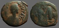 Ancient Coins - Justinian I AE30 Follis, Constantinople. 1 Star, 2 cross