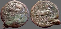 Ancient Coins - Zeugitania. Carthage AE32 Trishekel / Horse. Second Punic War