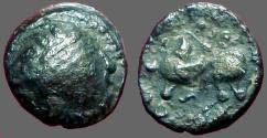Ancient Coins - Celtic Kapostal billon 14mm Drachm.  Stylized bust rt / Horse & Rider left