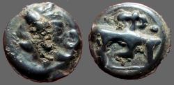 Ancient Coins - Celtic Potin AE16 unit head left / Bull rt. monogram