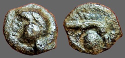 Ancient Coins - Spain, Celtic Tribes AE17.  head of a Gaul left. / Boar left, facing man head below.