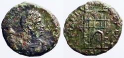 Ancient Coins - Valentinian II AE4 Campgate.  Thessalonica