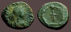 Ancient Coins - Theodosius II AE4 Nummus  Cross in wreath.  Constantinople.
