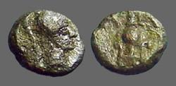 Ancient Coins - Aiolis,  Larissa Phrikonis AE9 Helmeted Athena / Amphora, caduceus