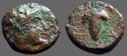 Ancient Coins - Aeolis, Temnos AE12 Dionysos / Grape cluster on vine
