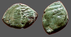 Ancient Coins - Sicily, Hiimera.  Thermai Himerensis AE15  Hd. of Hera rt. w. stephane / Hd. of Herakles