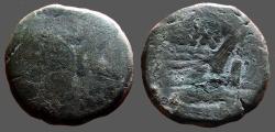 Ancient Coins - Roman Republic.  C. Cluvius Saxula AE32 as.Janus / C SAX  Galley Prow.