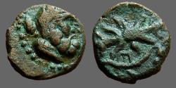 Ancient Coins - Pisidie-Selge AE13. Head of Zeus / Thunderbolt. E monogram