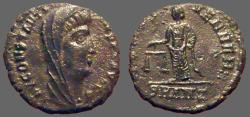 Ancient Coins - Constantine , posthumous AE4  Aequitas standing left, holding scales.