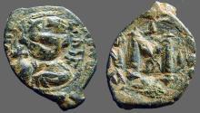 Ancient Coins - Constans II AE20 follis, restruck on earlier flan, SB#1004