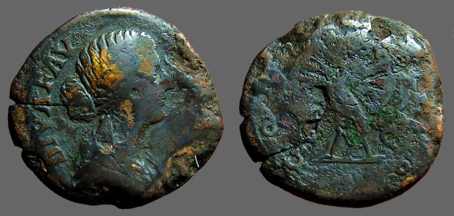 Ancient Coins - Diva Faustina Junior AE30 Sestertius.  Peacock standing left, tail resplendant.