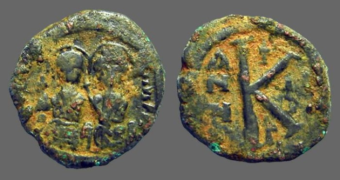 Ancient Coins - Justin II & Sophia 1/2 Follis.  year 6