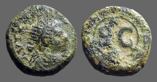 Ancient Coins - Elagabalus AE17, Antioch, Syria.  SC within wreath.