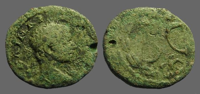 Ancient Coins - Severus Alexander AE18, Antioch, Syria. SC within wreath.