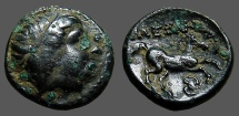 Ancient Coins - Kings of Macedon AE16 Hd of Apollo / Horse rt.  Boetian Shield below