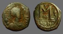 Ancient Coins - Justinian I AE30 Follis, Nikomedia. 1 Star, 2 cross, SB#198