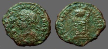 Ancient Coins - Constantine II AE3 Mantled bust left holds Victory, mappa / Globe on Altar.  Trier
