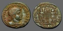 Ancient Coins - Constantine II AE3 Gloria Exercitvs, 2 soldiers, 2 Standards.