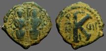Ancient Coins - Justin II & Sophia AE23 1/2 Follis.  Antioch.  year 7
