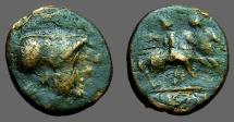 Ancient Coins - Apulia, Caelia.  AE13 Athena / Dioscuri on horseback right