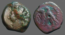 Ancient Coins - Ptolemy AE21 diobol  Zeus Ammon / 2 Eagles left on thunderbolt