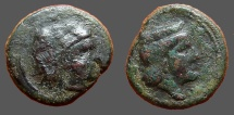 Ancient Coins - Sicily, Hiimera.  Thermai Himerensis AE15  Hd. of Hera rt. w. stephane / Hd. of Herakles in lion's skin rt.