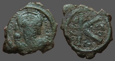 Ancient Coins - Justinian I AE17 facing bust 1/2 Follis.  Thessalonica