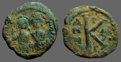 Ancient Coins - Justin II & Sophia AE19 1/2 follis. year 6  Thessalonica
