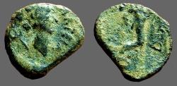 Ancient Coins - Spain, Carteia AE18 City Goddess / Cornucopia