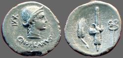 Ancient Coins - C. Norbanus AR Denarius.  Venus / Wheat, fasces, caduceus. Rome Mint