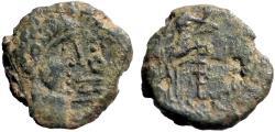 Ancient Coins - Spain, Irippo. AE23 Male head  / Woman seated w. pine cone & cornucopia