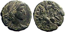 Ancient Coins - Constantius II AE18 Centionalis.  Roman Soldier spearing enemy horseman