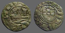 World Coins - Portugal, Alfonso V AE22 Ceitil. Castle, waves below / Coat of Arms.