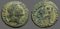 Ancient Coins - Constantine I AE3 Follis. Eyes to heaven / Victory w. trophy & captive