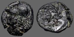 Ancient Coins - Aeolis, Elaia  AE13 Athena / Grain seed in wreath