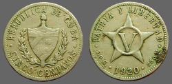 World Coins - Cuba AR 5 Cent  Coat of Arms / 5 point star.  1920  Silver
