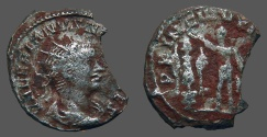Ancient Coins - Valerian II AR Antoninianus. prince standing left, holds spear, shield and crowning trophy