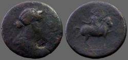 Ancient Coins - Crispina AE33  Mytilene, Lesbos,  Commodus in triumphal parade right