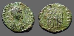 Ancient Coins - Arcadius AE4 Campgate.  SPES REIPVBLICAE