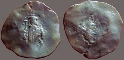 Ancient Coins - Isaac II, Angelus. AE29 Aspron Trachy mint error