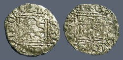 Ancient Coins - Enrique II AR18 Noven Castle / Lion.  1369-1379