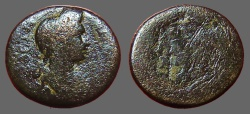 Ancient Coins - Plotina, wife of Trajan AE20 Lydia, Philadelphia.  City name in wreath