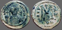 Ancient Coins - Justinian I AE38 facing bust Follis.  Constantinople. year 13