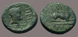 Ancient Coins - Abdera, Thrace AE15 Hd in sqaure / Griffin seated rt