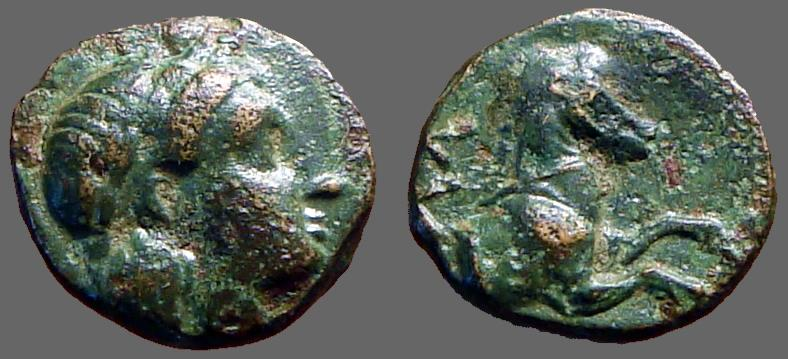 Ancient Coins - Atarneus, Mysia AE10 Apollo / forepart of Horse rt