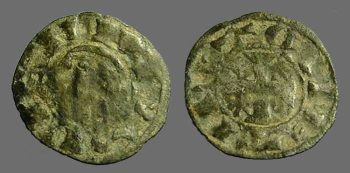 World Coins - Alfonso VIII 17mm billon denaro. bust left / Cross w. stars.