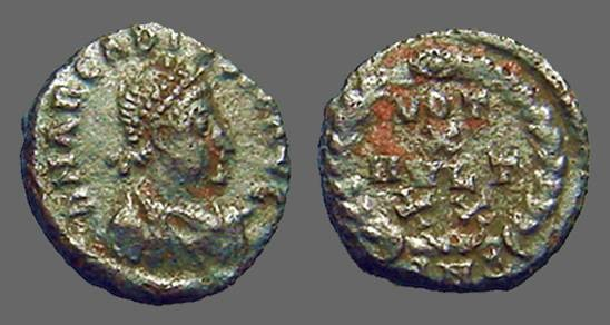 Ancient Coins - Arcadius AE4 VOT X/ MVLT XX  in wreath.  Antioch, Turkey.