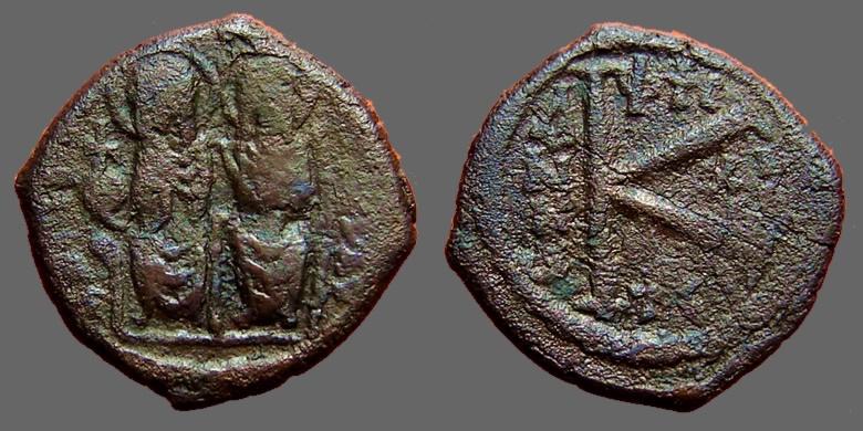 Ancient Coins - Justin II & Sophia,  AE 1/2 Follis.  Thessalonica.  rare.